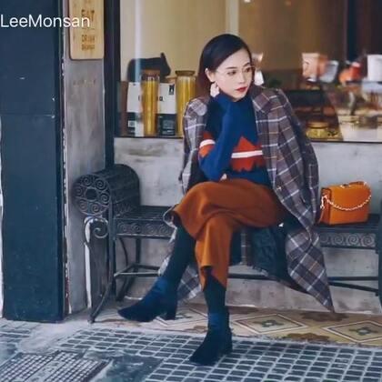"""🌤 这个冬天 一件足够。 经典格纹大衣最实穿的示范"""" #穿秀##热门#"""