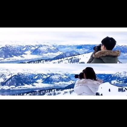 瑞士瑞吉山风光🏔️雪山,小火车,雪景,都那么美好~还是最喜欢最后的同框画面💕💕#带着美拍去旅行##最美的雪景##情侣照#