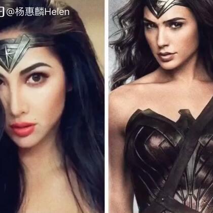 是的这是仿妆的过程啦,第一次化仿妆,不能说真的很像,毕竟人种不同…但是有用心啦~😬仿妆不防人。hoho~#神奇女侠##仿妆#