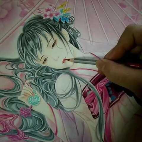 美拍最强画手 手绘彩铅马克笔画 唯美古风 好久没更新了 小贱手绘的美拍