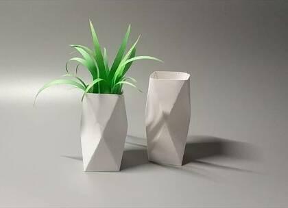几分钟用纸做个仿陶瓷风的几何花瓶,好看又实用,用来插花好漂亮,BGM:我要你,#手工##diy##折纸#