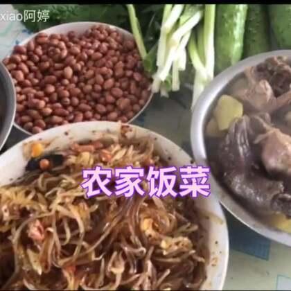 大锅炖小野鸡,豆芽拌粉条,油炸花生豆#吃秀##热门##阿婷食光记#这味道老正宗了