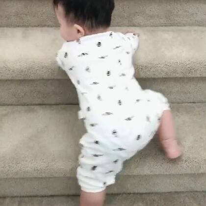 #宝宝#果子现在开始模仿大人的一举一动。虽然不是很会说。但是会尝试去跟着说我们刚跟他说过的话。他现在已经有自己的思维。知道自己想要干什么,想做什么。早上起床我带他下楼,他要自己下,所以教他趴着下,比较安全。