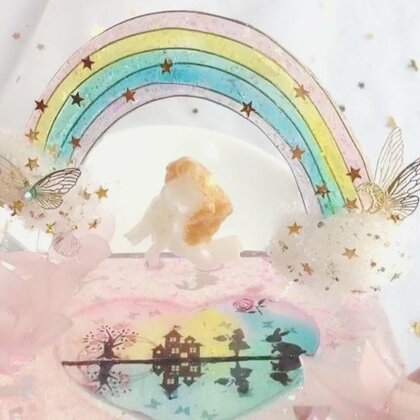 #水晶滴胶#历时两个月才做好的彩虹桌摆😰宝宝们看着眼熟吗😘😘@♡小懒家的凉兮~制作过程乖乖教上😘😘 #手工##滴胶桌摆#