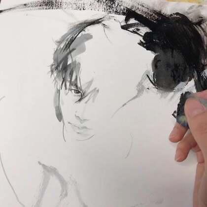 🖤也是不爱用画笔的一天#易烊千玺##MarinaRen##水彩#