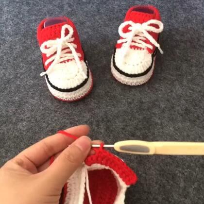 #手工##我要上热门##钩针编织宝宝鞋#宝宝球鞋教程4