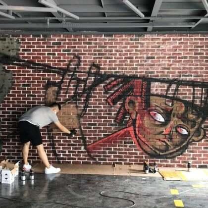 #涂鸦##graffiti# 全幅6小时完成,很久很久没花这么长时间完成一幅作品了,晚饭得用勺子吃了……