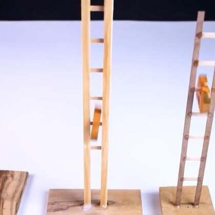 #手工#木块放上去,就像猴子一样顺着梯子溜下来,太好玩了#玩具制作##小猴子#