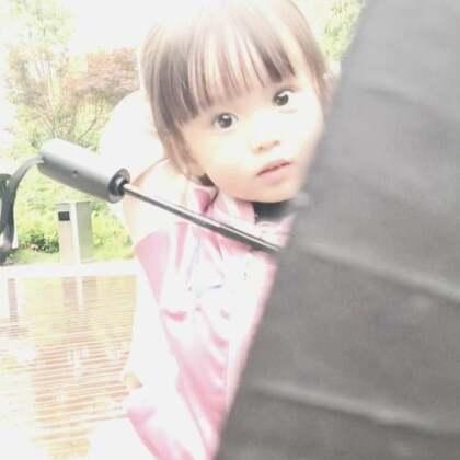 在雨中发现一朵黑色的小蘑菇😆咩咩看到我没打伞戴着衣服上的帽子,摸摸自己的衣服,木有帽子,委屈了,过来对我说:麻麻,我的帽子呢?😂#宝宝##宝宝成长日记#@美拍小助手 @宝宝频道官方账号