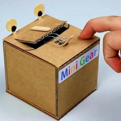 #手工#刚开启开关,盒子就伸出手将它关闭,这盒子太调皮了#科学小制作##机器人#