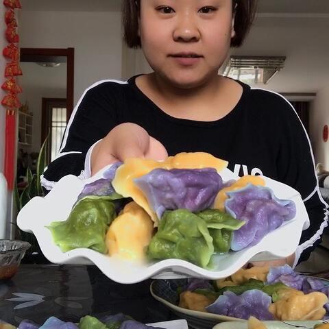 【丑胖子_美拍】#吃秀##吃货#彩色大饺子,酸菜肉...