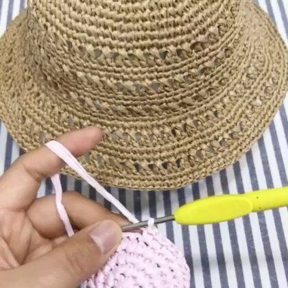 夏季镂空遮阳帽教程-4#手工#。