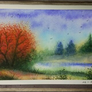 用水彩颜料画一幅风景画,冷色调和暖色调搭配的风景,有没有视觉上的