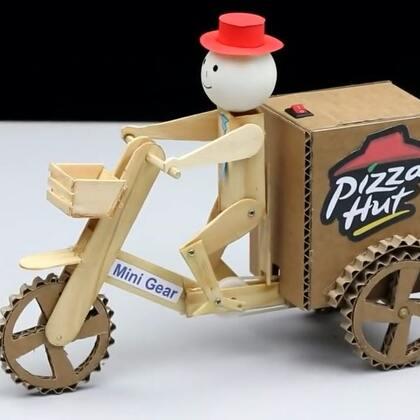 #手工#用雪糕棒和硬纸板做的披萨小子玩具车,孩子超喜欢#玩具车##披萨#