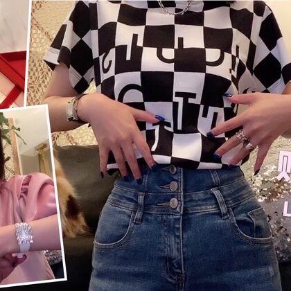 #芮妮的购物分享#【点赞送视频同款粉色丝绒上衣??】 小集购物分享 又买到了心头爱??LV 2020年早春新款T恤?RV的新款钻扣手带